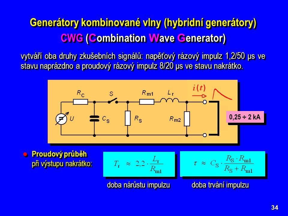 Napěťový průběh při výstupu naprázdno: Napěťový průběh při výstupu naprázdno: 34 Generátory kombinované vlny (hybridní generátory) CWG ( C ombination W ave G enerator) Generátory kombinované vlny (hybridní generátory) CWG ( C ombination W ave G enerator) doba nárůstu impulzu doba trvání impulzu 0,5 ÷ 4 kV 0,25 ÷ 2 kA Proudový průběh při výstupu nakrátko: Proudový průběh při výstupu nakrátko: vytváří oba druhy zkušebních signálů: napěťový rázový impulz 1,2/50 μs ve stavu naprázdno a proudový rázový impulz 8/20 μs ve stavu nakrátko.
