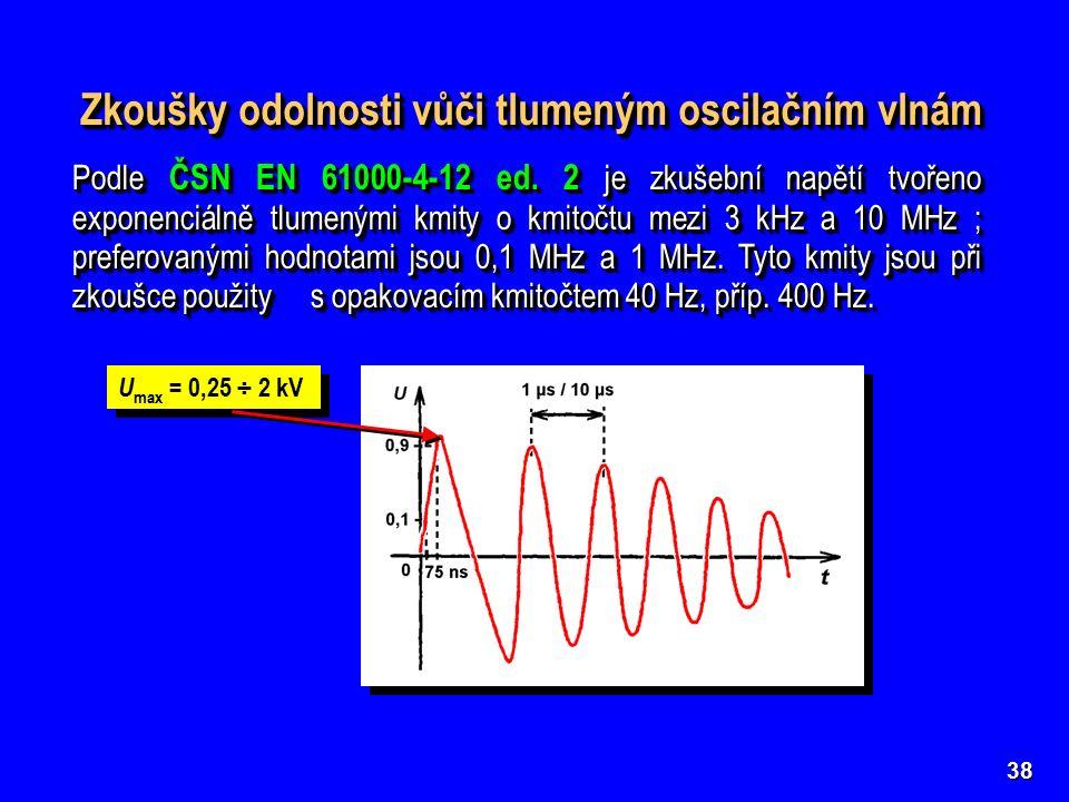38 Zkoušky odolnosti vůči tlumeným oscilačním vlnám Podle ČSN EN 61000-4-12 ed.