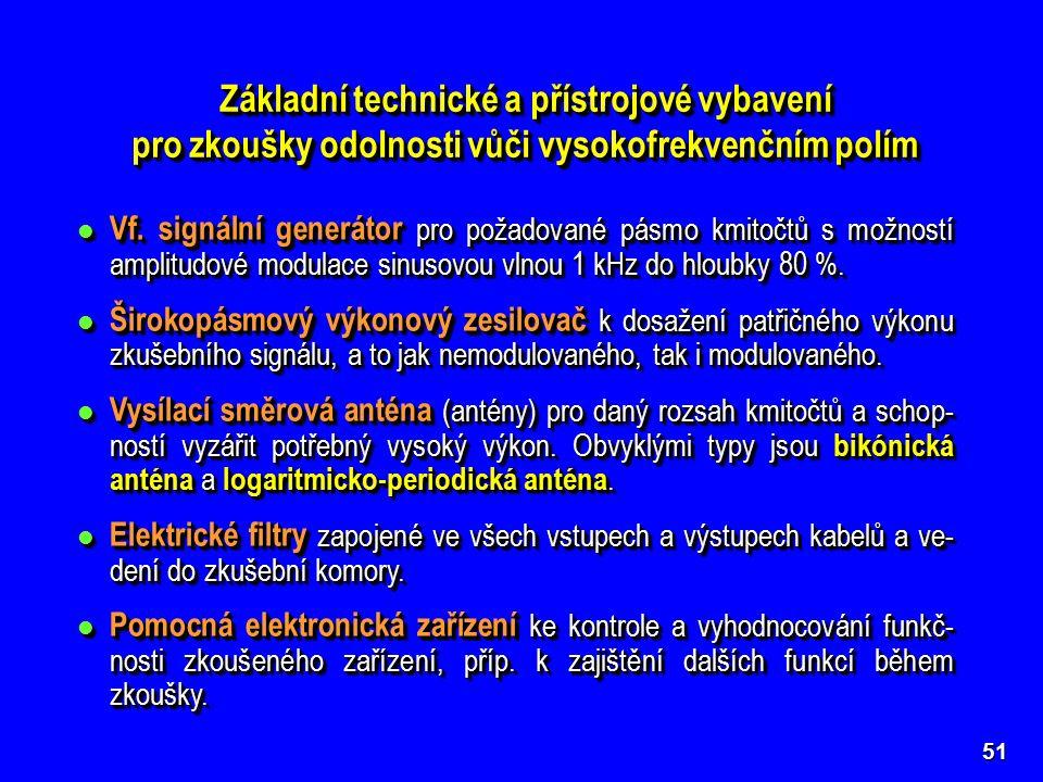 51 Základní technické a přístrojové vybavení pro zkoušky odolnosti vůči vysokofrekvenčním polím Základní technické a přístrojové vybavení pro zkoušky odolnosti vůči vysokofrekvenčním polím Vf.