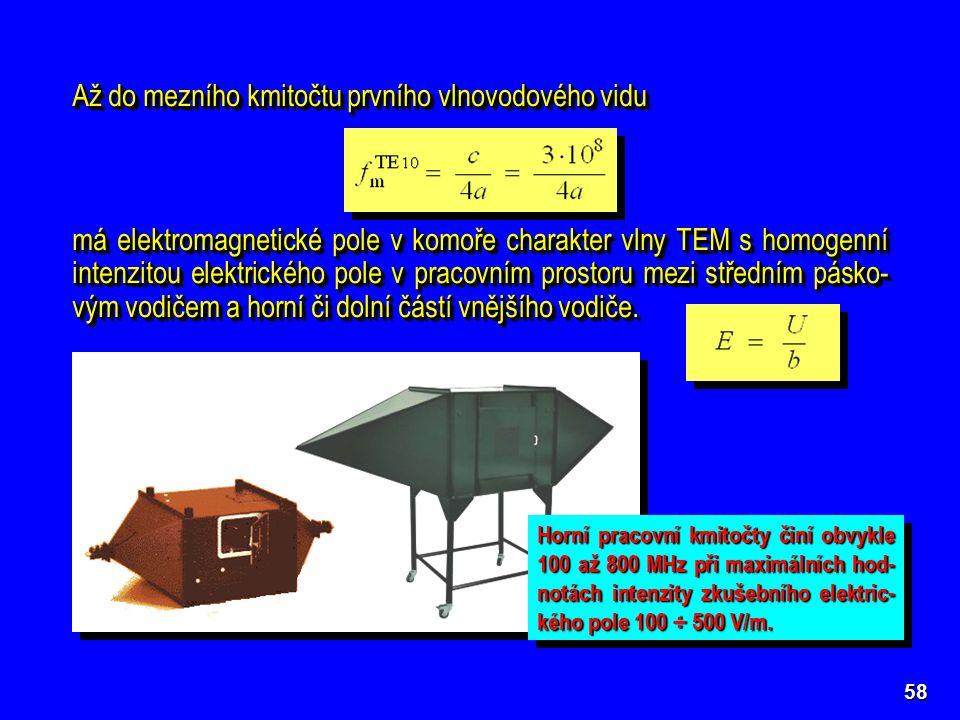 58 Až do mezního kmitočtu prvního vlnovodového vidu má elektromagnetické pole v komoře charakter vlny TEM s homogenní intenzitou elektrického pole v pracovním prostoru mezi středním pásko- vým vodičem a horní či dolní částí vnějšího vodiče.