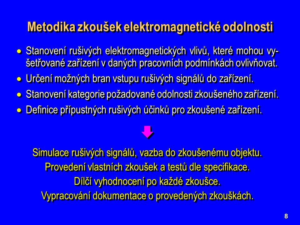 8 Metodika zkoušek elektromagnetické odolnosti Metodika zkoušek elektromagnetické odolnosti Metodika zkoušek elektromagnetické odolnosti Metodika zkoušek elektromagnetické odolnosti  Stanovení rušivých elektromagnetických vlivů, které mohou vy- šetřované zařízení v daných pracovních podmínkách ovlivňovat.
