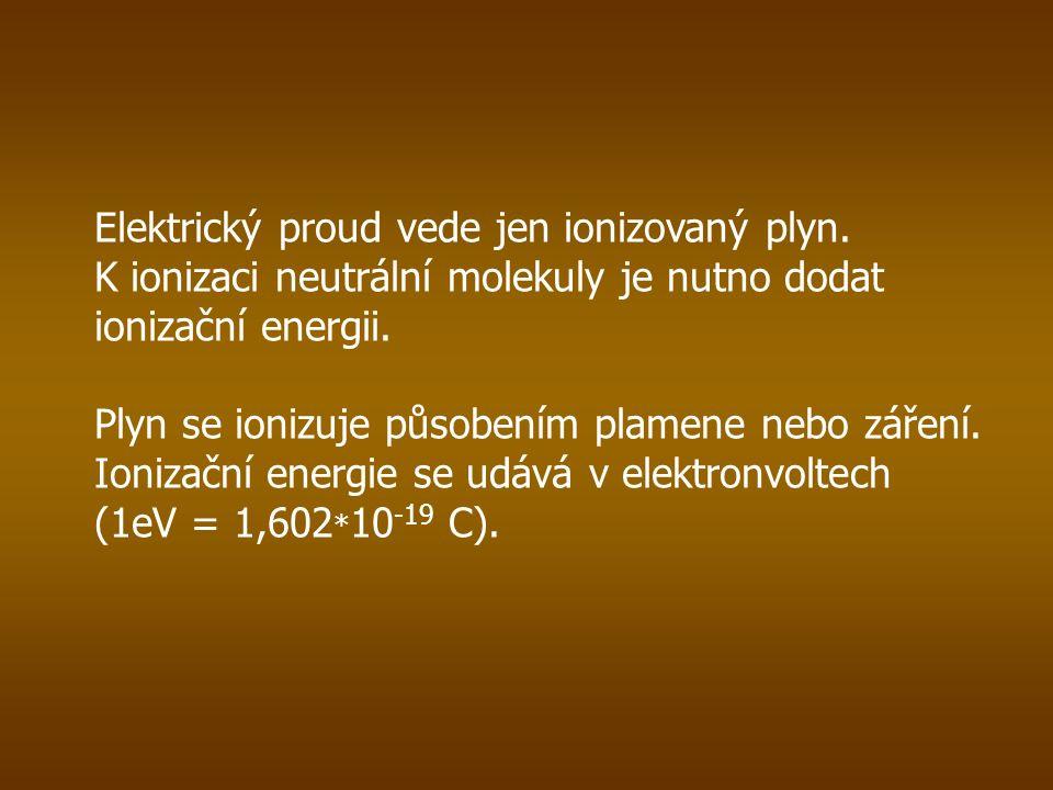 Elektrický proud v plynu, který se udržuje jen po dobu působení ionizátoru, se nazývá nesamostatný výboj.