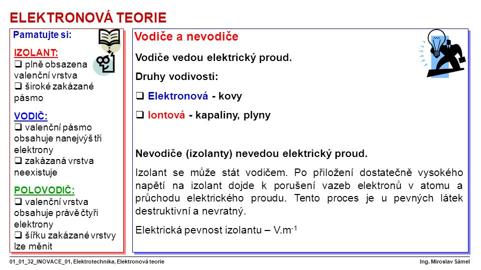 ELEKTRONOVÁ TEORIE 01_01_32_INOVACE_01, Elektrotechnika, Elektronová teorie Ing.