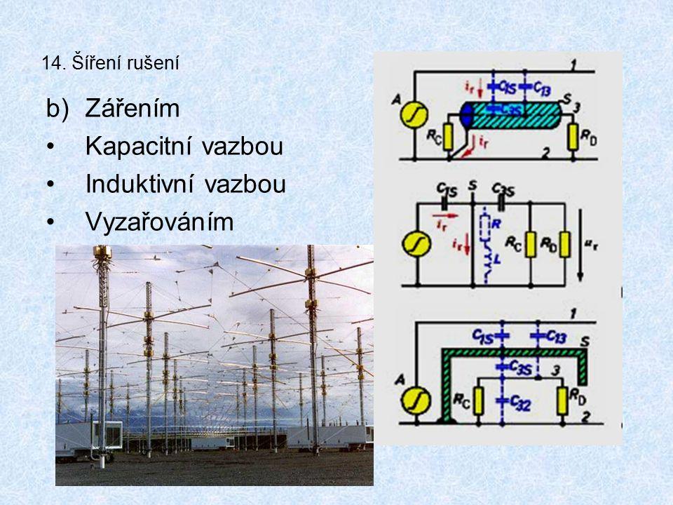 14. Šíření rušení b)Zářením Kapacitní vazbou Induktivní vazbou Vyzařováním