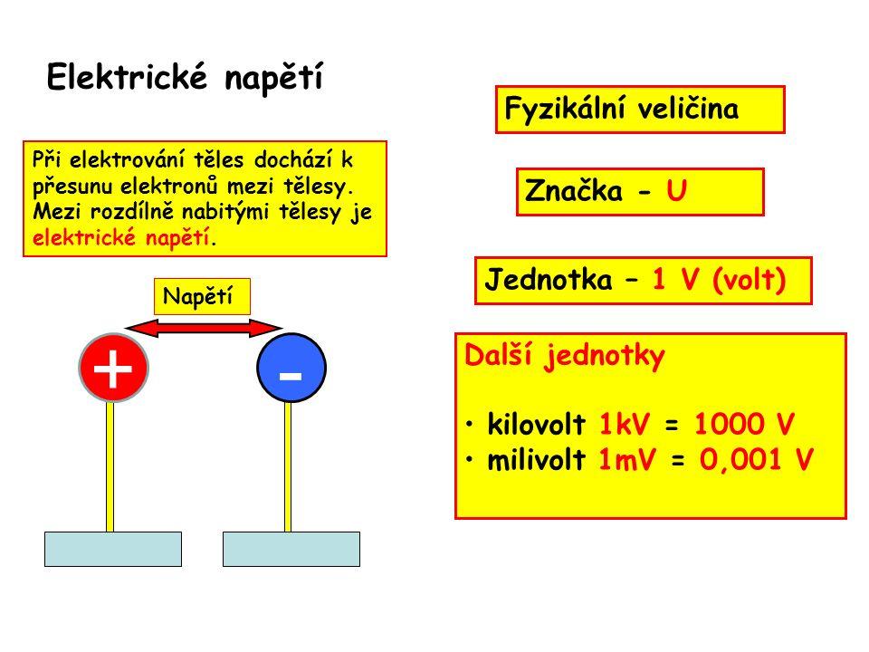 Elektrické napětí Při elektrování těles dochází k přesunu elektronů mezi tělesy.