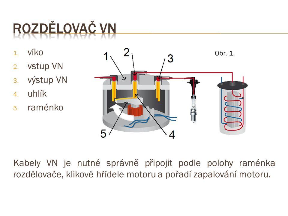 1. víko 2. vstup VN 3. výstup VN 4. uhlík 5. raménko Kabely VN je nutné správně připojit podle polohy raménka rozdělovače, klikové hřídele motoru a po
