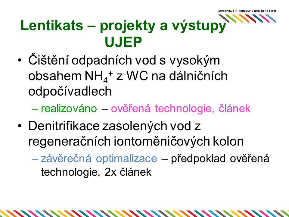 Lentikats – projekty a výstupy UJEP Čištění odpadních vod s vysokým obsahem NH 4 + z WC na dálničních odpočívadlech –realizováno – ověřená technologie