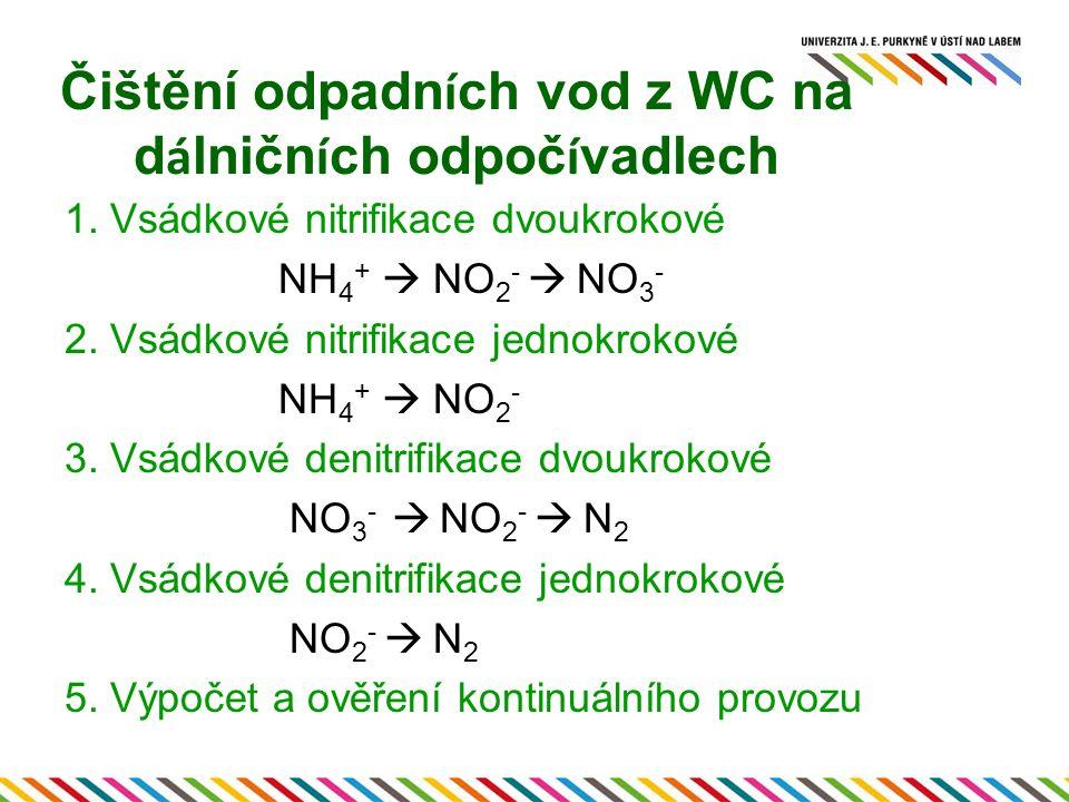 Čištění odpadn í ch vod z WC na d á lničn í ch odpoč í vadlech 1. Vsádkové nitrifikace dvoukrokové NH 4 +  NO 2 -  NO 3 - 2. Vsádkové nitrifikace je