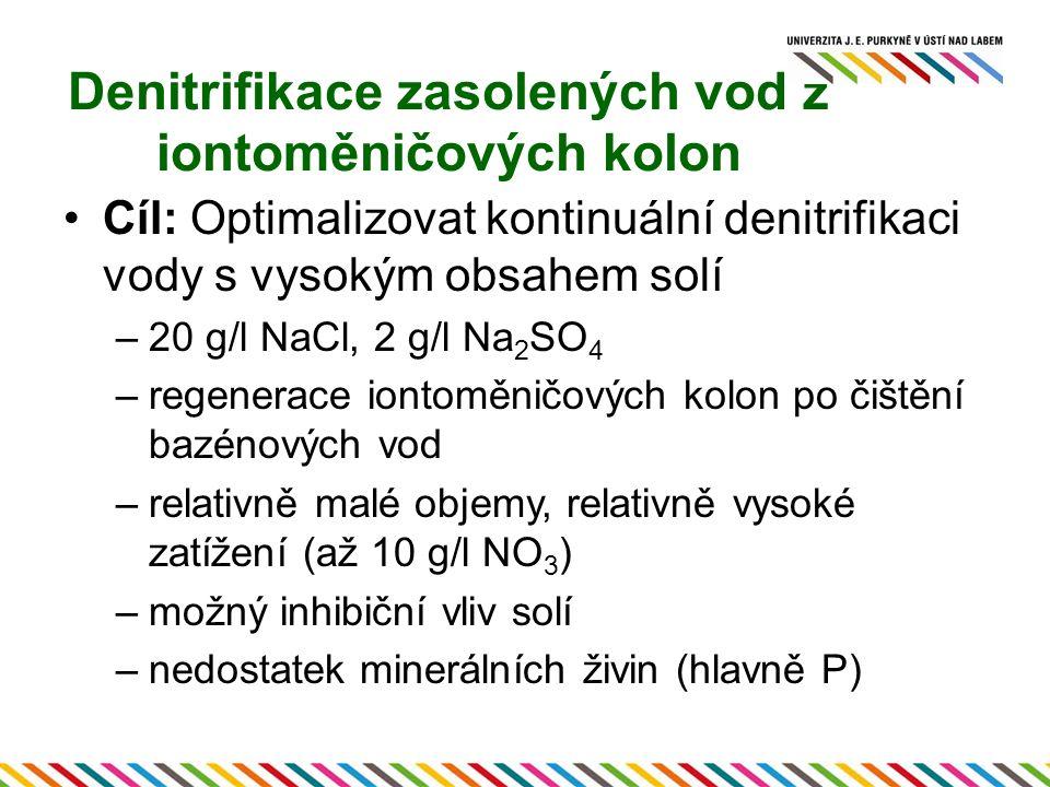 Denitrifikace zasolených vod z iontoměničových kolon Cíl: Optimalizovat kontinuální denitrifikaci vody s vysokým obsahem solí –20 g/l NaCl, 2 g/l Na 2 SO 4 –regenerace iontoměničových kolon po čištění bazénových vod –relativně malé objemy, relativně vysoké zatížení (až 10 g/l NO 3 ) –možný inhibiční vliv solí –nedostatek minerálních živin (hlavně P)