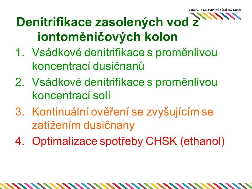 Denitrifikace zasolených vod z iontoměničových kolon 1.Vsádkové denitrifikace s proměnlivou koncentrací dusičnanů 2.Vsádkové denitrifikace s proměnlivou koncentrací solí 3.Kontinuální ověření se zvyšujícím se zatížením dusičnany 4.Optimalizace spotřeby CHSK (ethanol)