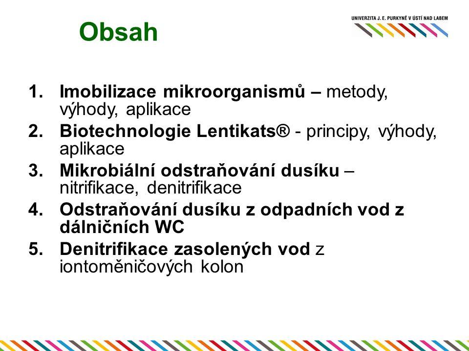 Obsah 1.Imobilizace mikroorganismů – metody, výhody, aplikace 2.Biotechnologie Lentikats® - principy, výhody, aplikace 3.Mikrobiální odstraňování dusí