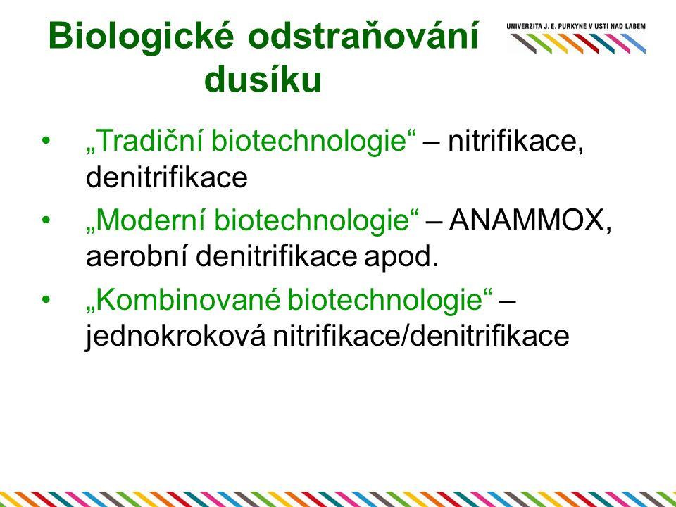 """Biologické odstraňování dusíku """"Tradiční biotechnologie"""" – nitrifikace, denitrifikace """"Moderní biotechnologie"""" – ANAMMOX, aerobní denitrifikace apod."""