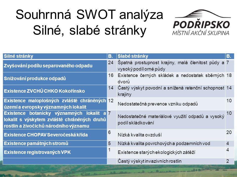 Souhrnná SWOT analýza Silné, slabé stránky Silné stránky B.