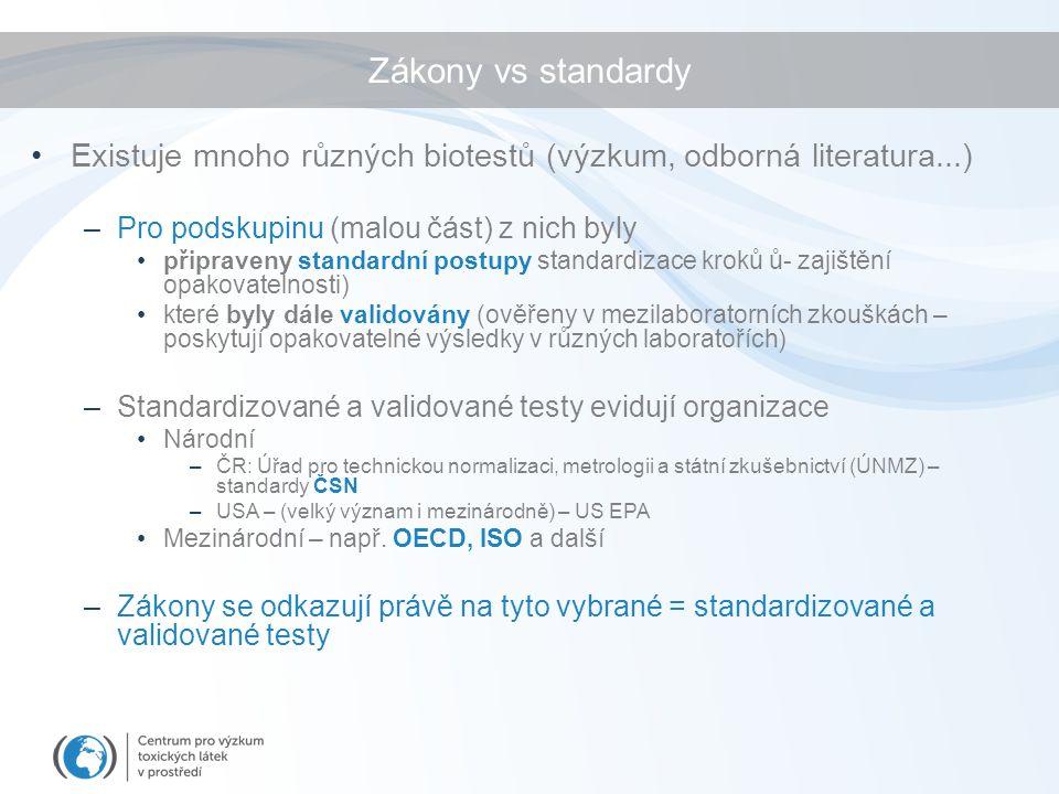 Zákony vs standardy Existuje mnoho různých biotestů (výzkum, odborná literatura...) –Pro podskupinu (malou část) z nich byly připraveny standardní postupy standardizace kroků ů- zajištění opakovatelnosti) které byly dále validovány (ověřeny v mezilaboratorních zkouškách – poskytují opakovatelné výsledky v různých laboratořích) –Standardizované a validované testy evidují organizace Národní –ČR: Úřad pro technickou normalizaci, metrologii a státní zkušebnictví (ÚNMZ) – standardy ČSN –USA – (velký význam i mezinárodně) – US EPA Mezinárodní – např.
