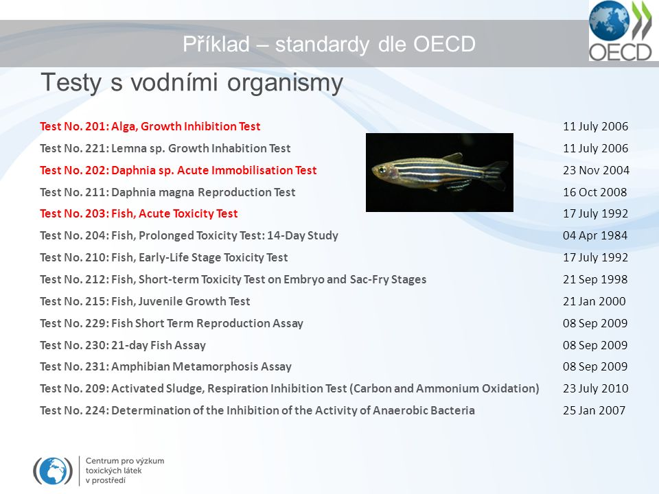 Příklad – standardy dle OECD Test No. 201: Alga, Growth Inhibition Test 11 July 2006 Test No.