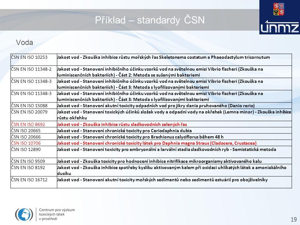 Příklad – standardy ČSN 19 Voda ČSN EN ISO 10253Jakost vod - Zkouška inhibice růstu mořských řas Skeletonema costatum a Phaeodactylum tricornutum ČSN EN ISO 11348-2Jakost vod - Stanovení inhibičního účinku vzorků vod na světelnou emisi Vibrio fischeri (Zkouška na luminiscenčních bakteriích) - Část 2: Metoda se sušenými bakteriemi ČSN EN ISO 11348-3Jakost vod - Stanovení inhibičního účinku vzorků vod na světelnou emisi Vibrio fischeri (Zkouška na luminiscenčních bakteriích) - Část 3: Metoda s lyofilizovanými bakteriemi ČSN EN ISO 11348-3Jakost vod - Stanovení inhibičního účinku vzorků vod na světelnou emisi Vibrio fischeri (Zkouška na luminiscenčních bakteriích) - Část 3: Metoda s lyofilizovanými bakteriemi ČSN EN ISO 15088Jakost vod - Stanovení akutní toxicity odpadních vod pro jikry dania pruhovaného (Danio rerio) ČSN EN ISO 20079Jakost vod - Stanovení toxických účinků složek vody a odpadní vody na okřehek (Lemna minor) - Zkouška inhibice růstu okřehku ČSN EN ISO 8692Jakost vod - Zkouška inhibice růstu sladkovodních zelených řas ČSN ISO 20665Jakost vod - Stanovení chronické toxicity pro Ceriodaphnia dubia ČSN ISO 20666Jakost vod - Stanovení chronické toxicity pro Brachionus calyciflorus během 48 h ČSN ISO 10706Jakost vod - Stanovení chronické toxicity látek pro Daphnia magna Straus (Cladocera, Crustacea) ČSN ISO 12890Jakost vod - Stanovení toxicity pro embryonální a larvální stadia sladkovodních ryb - Semistatická metoda ČSN EN ISO 9509Jakost vod - Zkouška toxicity pro hodnocení inhibice nitrifikace mikroorganismy aktivovaného kalu ČSN EN ISO 8192Jakost vod - Zkouška inhibice spotřeby kyslíku aktivovaným kalem při oxidaci uhlíkatých látek a amoniakálního dusíku ČSN EN ISO 16712Jakost vod - Stanovení akutní toxicity mořských sedimentů nebo sedimentů estuárií pro obojživelníky