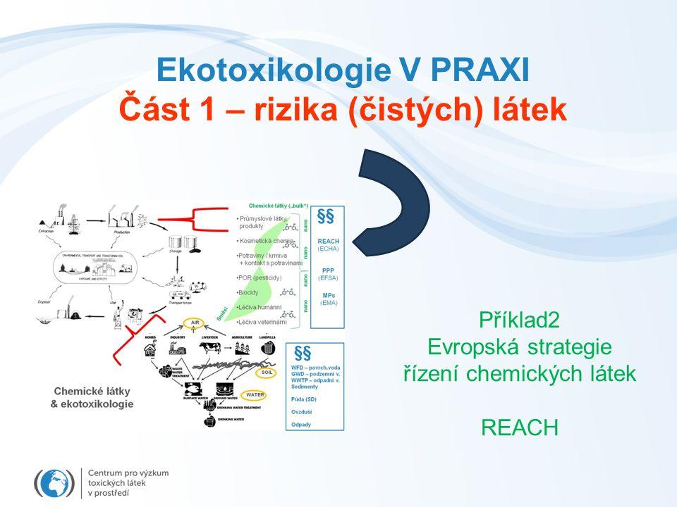Ekotoxikologie V PRAXI Část 1 – rizika (čistých) látek Příklad2 Evropská strategie řízení chemických látek REACH