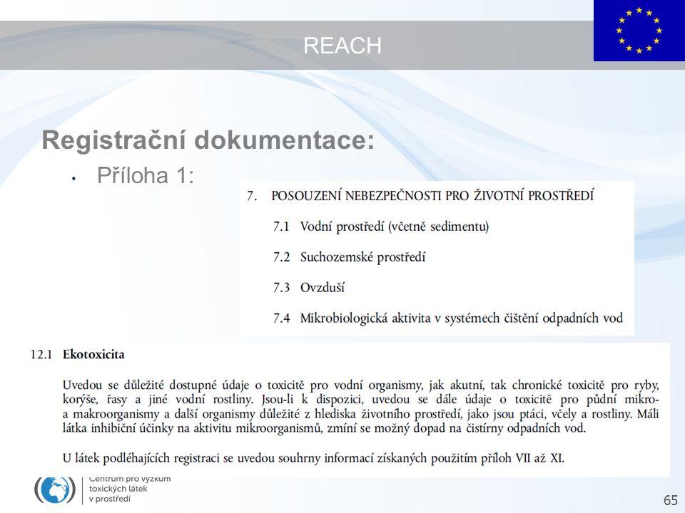 REACH Registrační dokumentace: Příloha 1: Příloha 2: 65