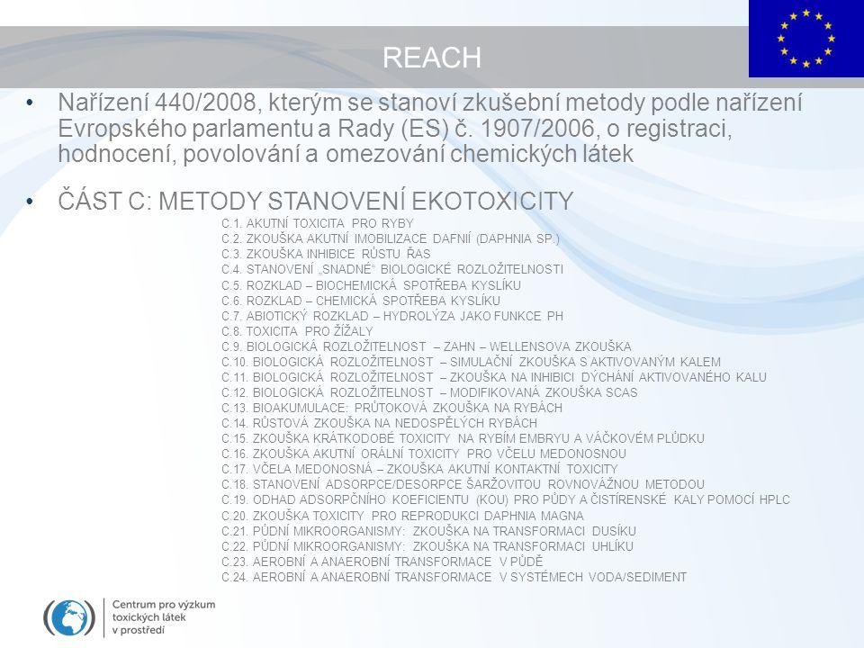 Nařízení 440/2008, kterým se stanoví zkušební metody podle nařízení Evropského parlamentu a Rady (ES) č.