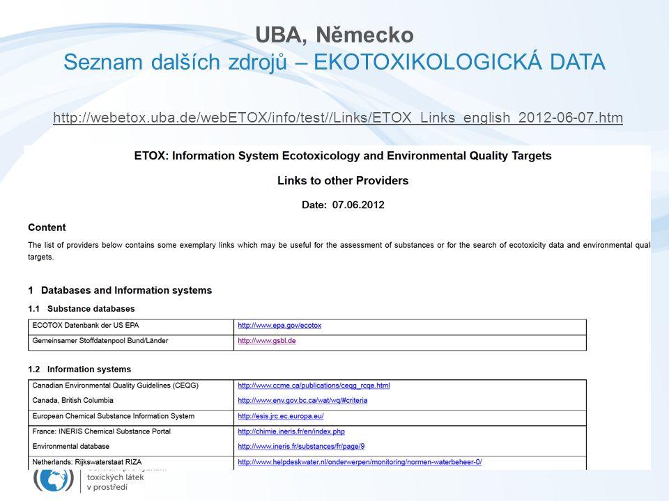 UBA, Německo Seznam dalších zdrojů – EKOTOXIKOLOGICKÁ DATA http://webetox.uba.de/webETOX/info/test//Links/ETOX_Links_english_2012-06-07.htm