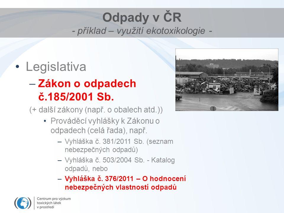 Odpady v ČR - příklad – využití ekotoxikologie - Legislativa –Zákon o odpadech č.185/2001 Sb.