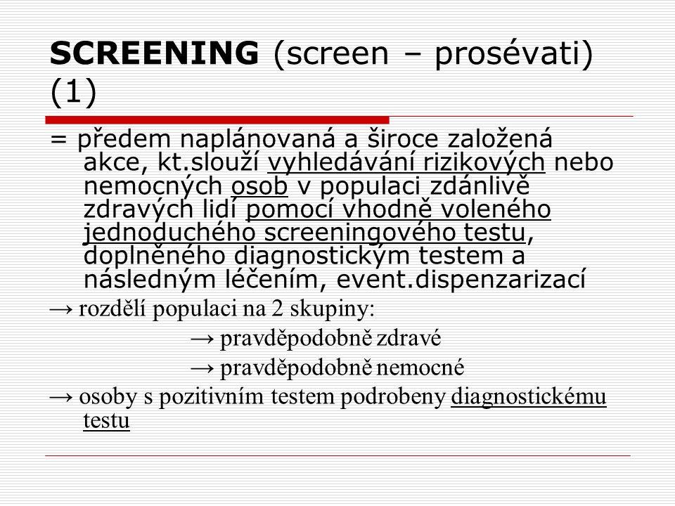 SCREENING (screen – prosévati) (1) = předem naplánovaná a široce založená akce, kt.slouží vyhledávání rizikových nebo nemocných osob v populaci zdánlivě zdravých lidí pomocí vhodně voleného jednoduchého screeningového testu, doplněného diagnostickým testem a následným léčením, event.dispenzarizací → rozdělí populaci na 2 skupiny: → pravděpodobně zdravé → pravděpodobně nemocné → osoby s pozitivním testem podrobeny diagnostickému testu