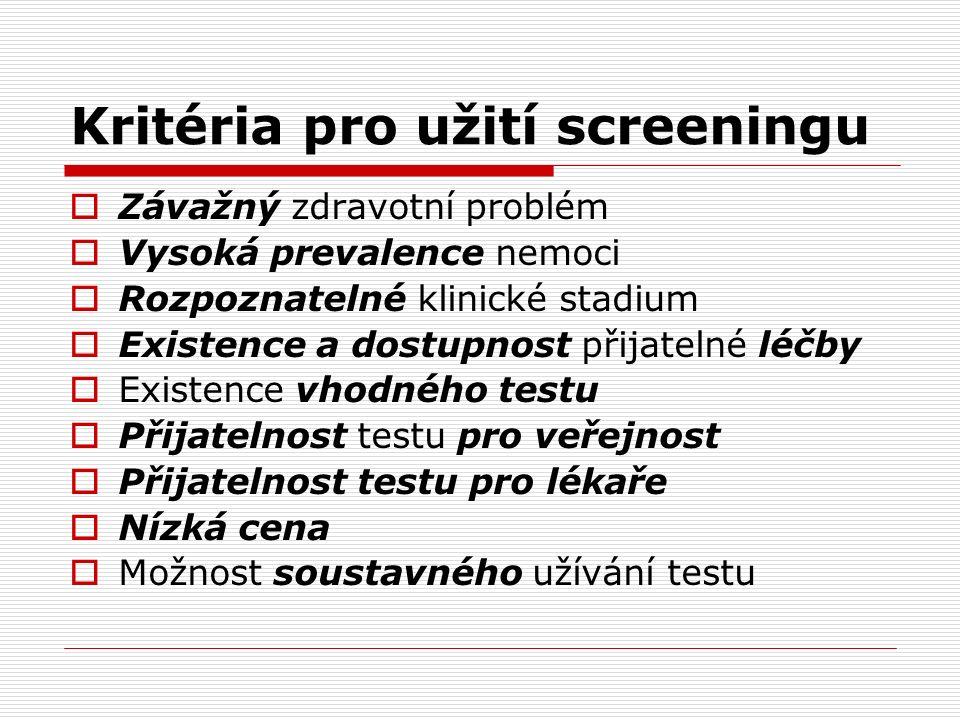 Kritéria pro užití screeningu  Závažný zdravotní problém  Vysoká prevalence nemoci  Rozpoznatelné klinické stadium  Existence a dostupnost přijatelné léčby  Existence vhodného testu  Přijatelnost testu pro veřejnost  Přijatelnost testu pro lékaře  Nízká cena  Možnost soustavného užívání testu