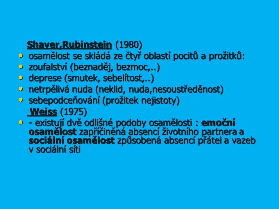 Shaver,Rubinstein (1980) Shaver,Rubinstein (1980) osamělost se skládá ze čtyř oblastí pocitů a prožitků: osamělost se skládá ze čtyř oblastí pocitů a prožitků: zoufalství (beznaděj, bezmoc,..) zoufalství (beznaděj, bezmoc,..) deprese (smutek, sebelítost,..) deprese (smutek, sebelítost,..) netrpělivá nuda (neklid, nuda,nesoustředěnost) netrpělivá nuda (neklid, nuda,nesoustředěnost) sebepodceňování (prožitek nejistoty) sebepodceňování (prožitek nejistoty) Weiss (1975) Weiss (1975) - existují dvě odlišné podoby osamělosti : emoční osamělost zapříčiněná absencí životního partnera a sociální osamělost způsobená absencí přátel a vazeb v sociální síti - existují dvě odlišné podoby osamělosti : emoční osamělost zapříčiněná absencí životního partnera a sociální osamělost způsobená absencí přátel a vazeb v sociální síti
