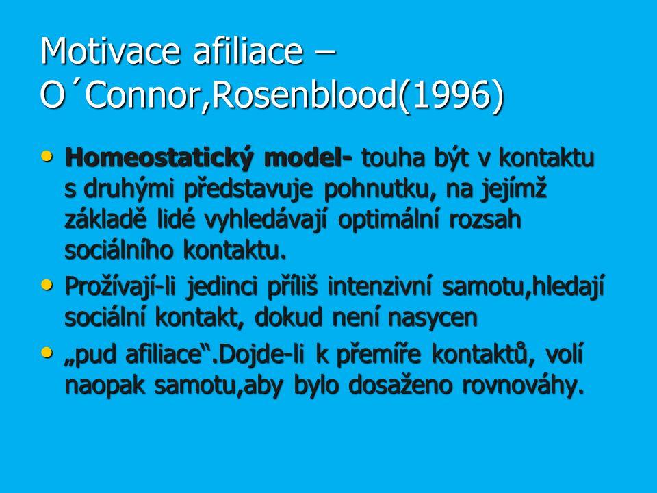 Motivace afiliace – O´Connor,Rosenblood(1996) Homeostatický model- touha být v kontaktu s druhými představuje pohnutku, na jejímž základě lidé vyhledávají optimální rozsah sociálního kontaktu.