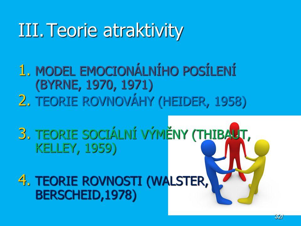 III.Teorie atraktivity 1. MODEL EMOCIONÁLNÍHO POSÍLENÍ (BYRNE, 1970, 1971) 2.