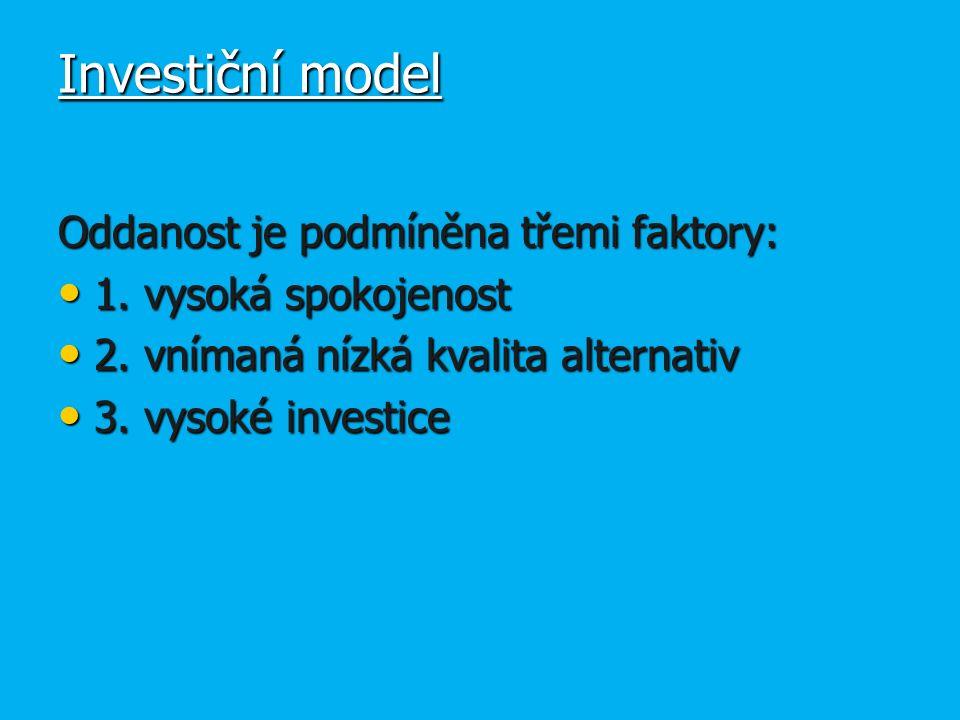 Investiční model Oddanost je podmíněna třemi faktory: 1.
