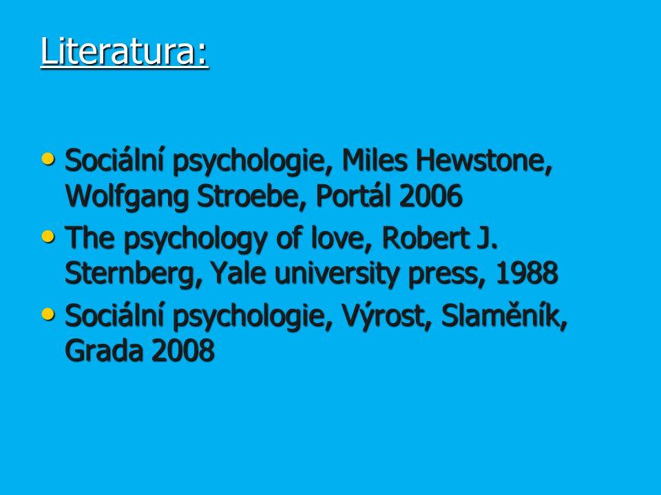Literatura: Sociální psychologie, Miles Hewstone, Wolfgang Stroebe, Portál 2006 Sociální psychologie, Miles Hewstone, Wolfgang Stroebe, Portál 2006 The psychology of love, Robert J.