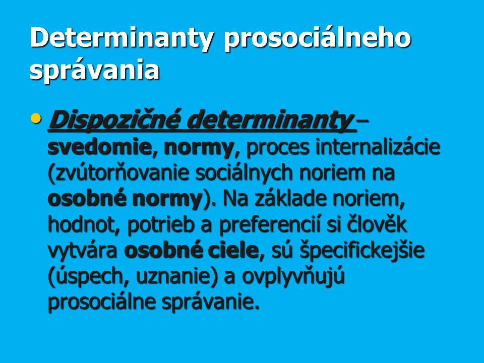 Determinanty prosociálneho správania Dispozičné determinanty – svedomie, normy, proces internalizácie (zvútorňovanie sociálnych noriem na osobné normy).