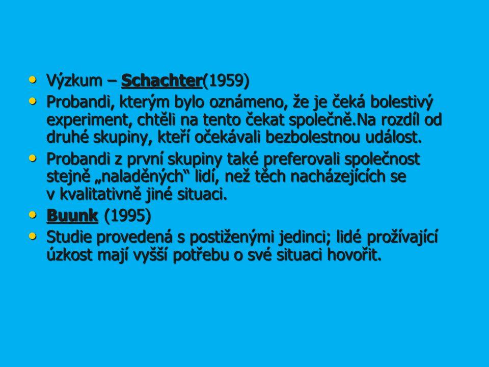 Výzkum – Schachter(1959) Výzkum – Schachter(1959) Probandi, kterým bylo oznámeno, že je čeká bolestivý experiment, chtěli na tento čekat společně.Na rozdíl od druhé skupiny, kteří očekávali bezbolestnou událost.