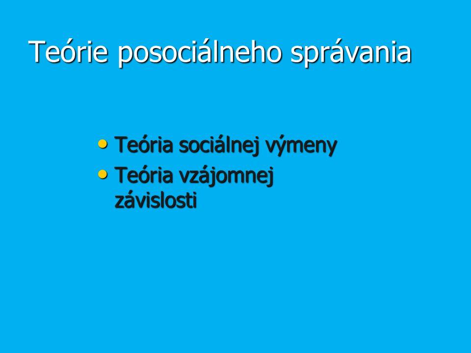 Teórie posociálneho správania Teória sociálnej výmeny Teória sociálnej výmeny Teória vzájomnej závislosti Teória vzájomnej závislosti