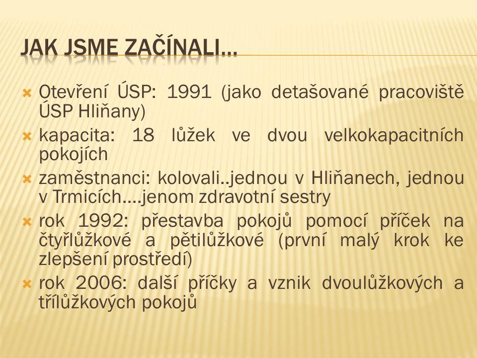  Otevření ÚSP: 1991 (jako detašované pracoviště ÚSP Hliňany)  kapacita: 18 lůžek ve dvou velkokapacitních pokojích  zaměstnanci: kolovali..jednou v Hliňanech, jednou v Trmicích….jenom zdravotní sestry  rok 1992: přestavba pokojů pomocí příček na čtyřlůžkové a pětilůžkové (první malý krok ke zlepšení prostředí)  rok 2006: další příčky a vznik dvoulůžkových a třílůžkových pokojů