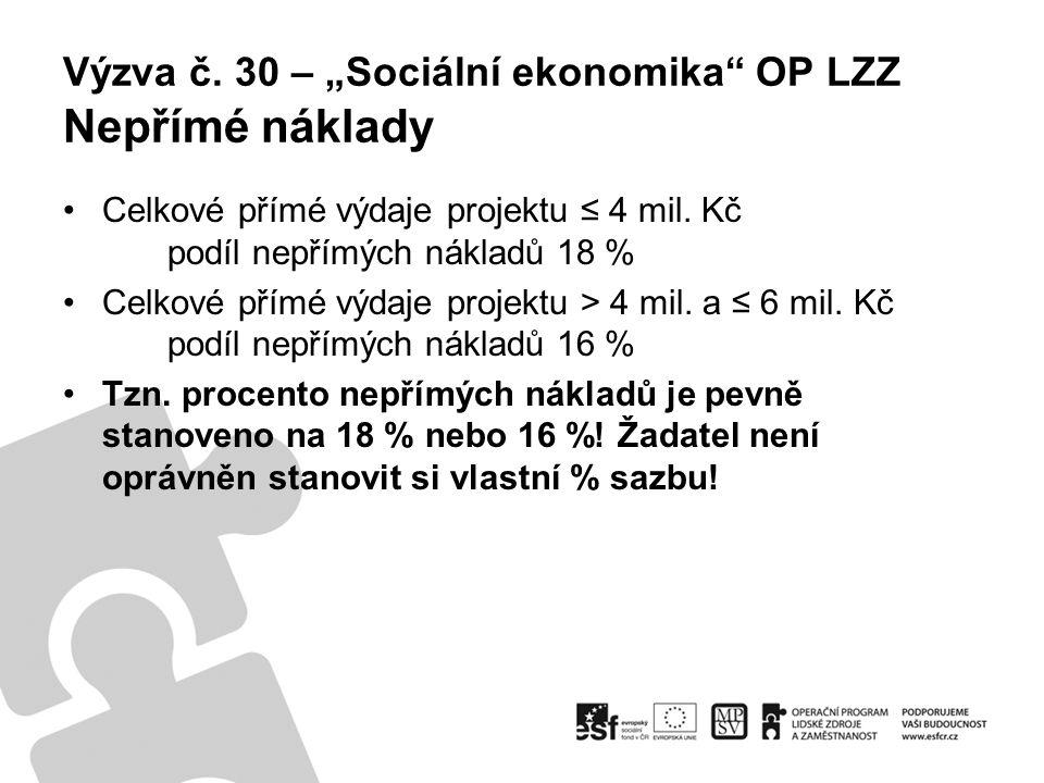 """Výzva č. 30 – """"Sociální ekonomika OP LZZ Nepřímé náklady Celkové přímé výdaje projektu ≤ 4 mil."""