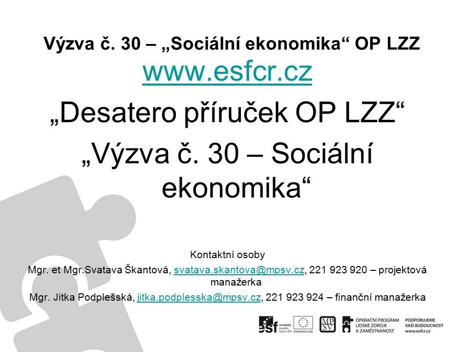 """Výzva č. 30 – """"Sociální ekonomika OP LZZ www.esfcr.cz """"Desatero příruček OP LZZ """"Výzva č."""