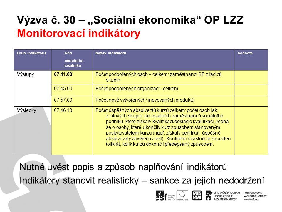 """Výzva č.30 – """"Sociální ekonomika OP LZZ www.esfcr.cz """"Desatero příruček OP LZZ """"Výzva č."""