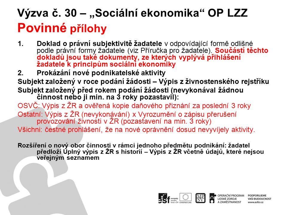 """Výzva č.30 – """"Sociální ekonomika OP LZZ Povinné přílohy 3."""