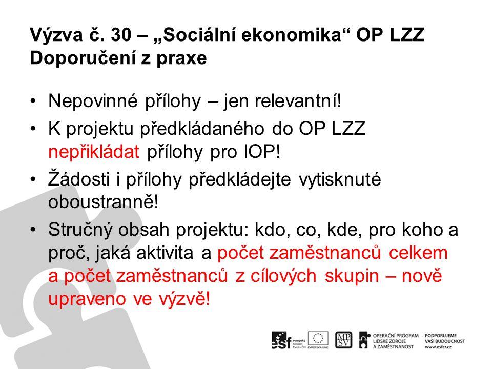 """Výzva č. 30 – """"Sociální ekonomika OP LZZ Doporučení z praxe Nepovinné přílohy – jen relevantní."""