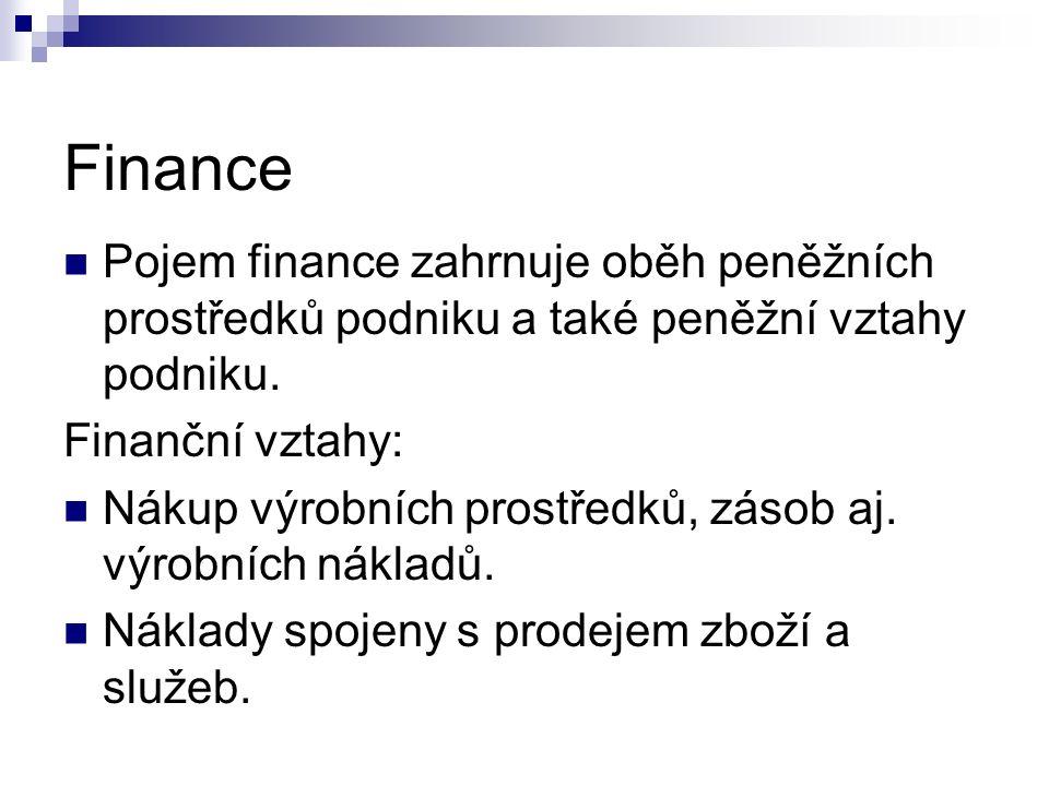 Finance Pojem finance zahrnuje oběh peněžních prostředků podniku a také peněžní vztahy podniku. Finanční vztahy: Nákup výrobních prostředků, zásob aj.