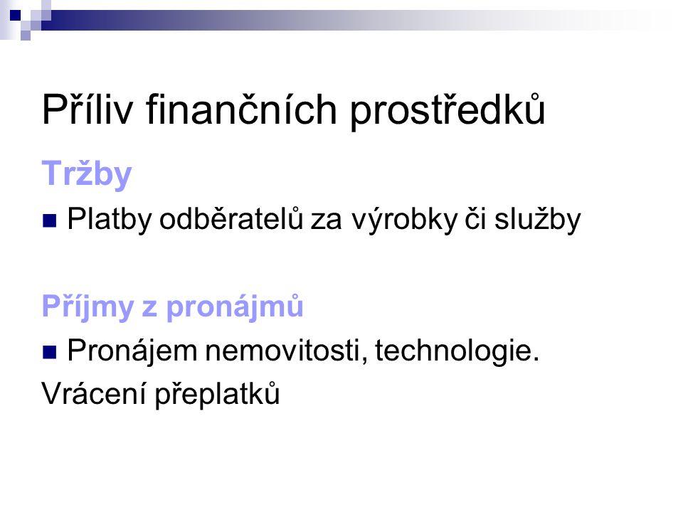 Příliv finančních prostředků Tržby Platby odběratelů za výrobky či služby Příjmy z pronájmů Pronájem nemovitosti, technologie. Vrácení přeplatků