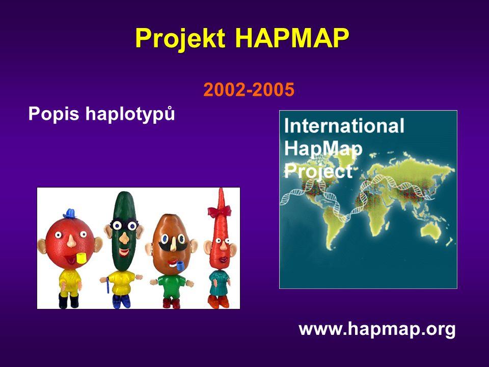 Projekt HAPMAP 2002-2005 Popis haplotypů www.hapmap.org