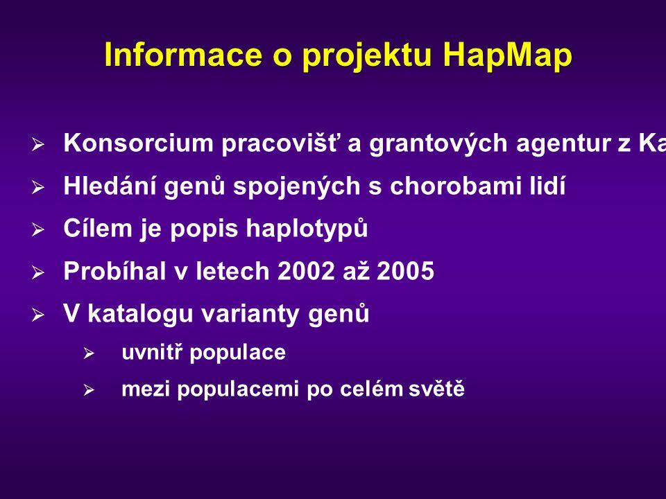 Informace o projektu HapMap  Konsorcium pracovišť a grantových agentur z Kanady, Číny, Japonska, Nigérie, VB a USA  Hledání genů spojených s chorobami lidí  Cílem je popis haplotypů  Probíhal v letech 2002 až 2005  V katalogu varianty genů  uvnitř populace  mezi populacemi po celém světě