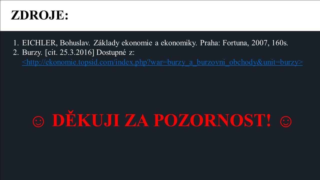 ZDROJE: 1.EICHLER, Bohuslav. Základy ekonomie a ekonomiky.