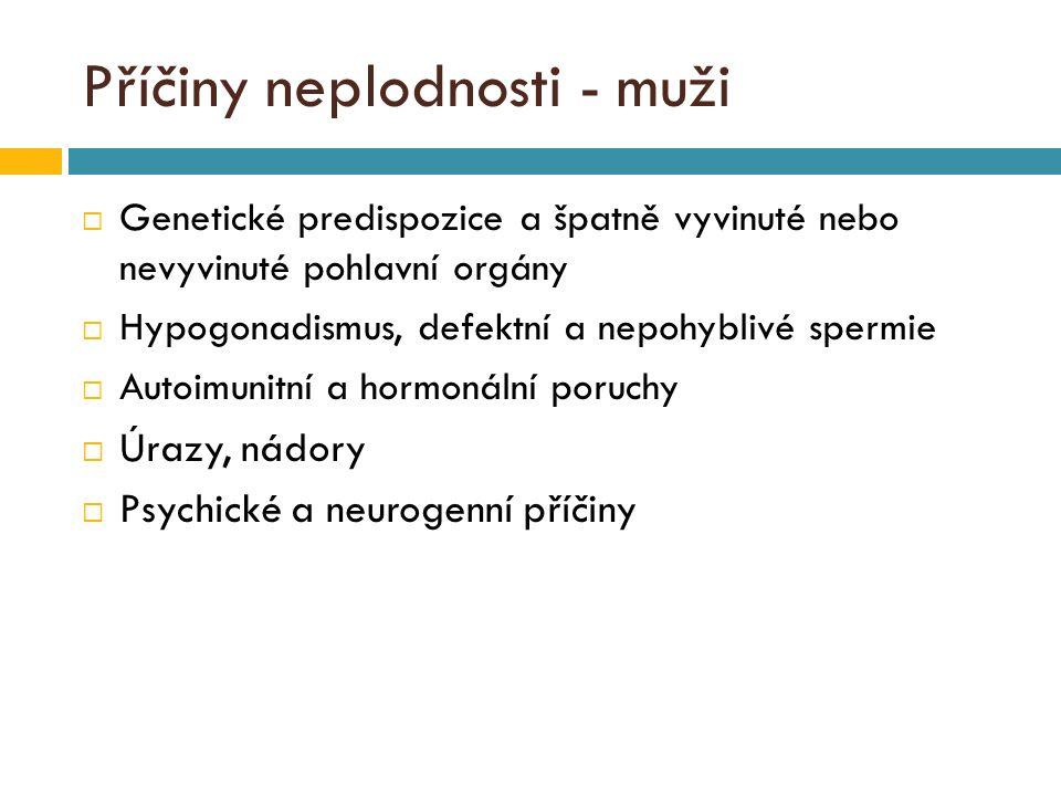 Příčiny neplodnosti - muži  Genetické predispozice a špatně vyvinuté nebo nevyvinuté pohlavní orgány  Hypogonadismus, defektní a nepohyblivé spermie  Autoimunitní a hormonální poruchy  Úrazy, nádory  Psychické a neurogenní příčiny