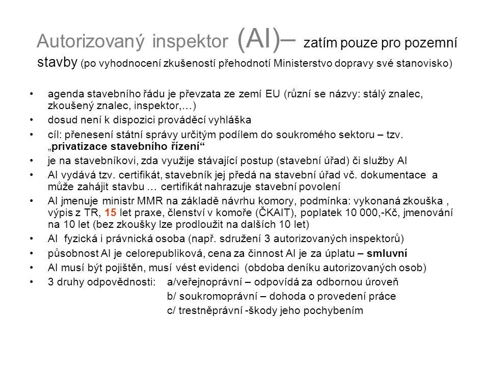 Autorizovaný inspektor (AI)– zatím pouze pro pozemní stavby (po vyhodnocení zkušeností přehodnotí Ministerstvo dopravy své stanovisko) agenda stavební