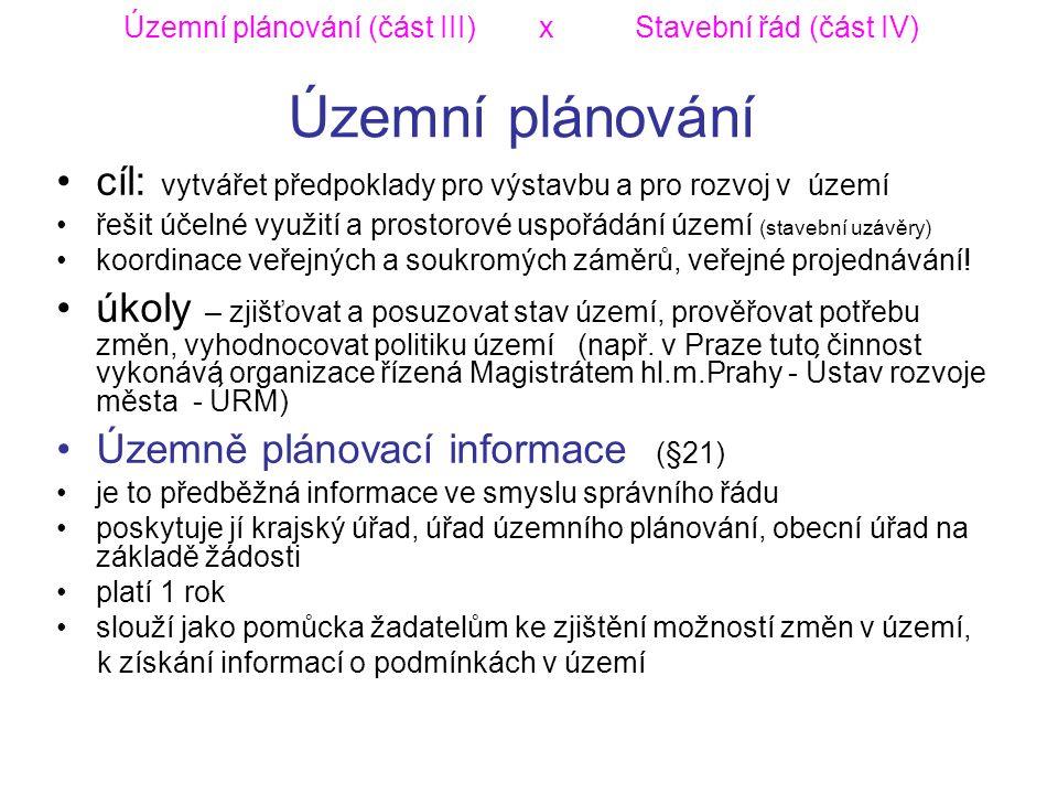Územní plánování (část III) x Stavební řád (část IV) Územní plánování cíl: vytvářet předpoklady pro výstavbu a pro rozvoj v území řešit účelné využití