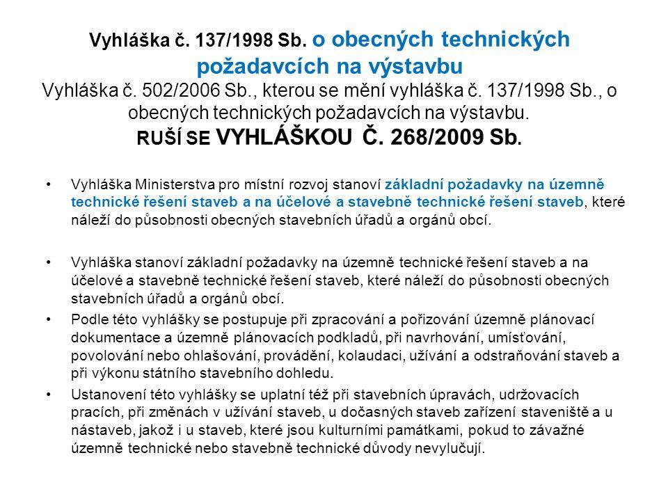 Vyhláška č. 137/1998 Sb. o obecných technických požadavcích na výstavbu Vyhláška č.